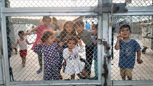 Niños en el campo de refugiados de Lesbo.