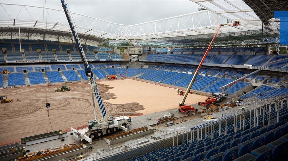 Obras de reforma en Anoeta, el estadio de la Real Sociedad.