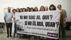 El núcleo fundador del nuevo sindicato de ocupadores, el Sindicat de Profesionals de l'Ocupació de Catalunya (SPOC).