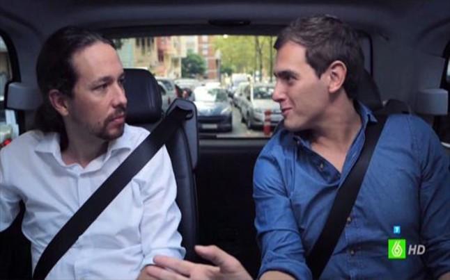 Pablo Iglesias y Albert Rivera, en el programa Salvados de Jordi Évole.