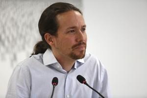 Pablo Iglesias, durante una rueda de prensa en Madrid.