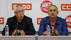 Fernández Toxo (CCOO) y Álvarez (UGT), en una rueda de prensa.