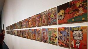 Piezas de la exposición que el MNAC, junto con el Cómic Barcelona, ha dedicado esta año a 'El Víbora'.