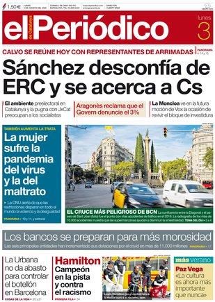 La portada de EL PERIÓDICO del 3 de agosto del 2020