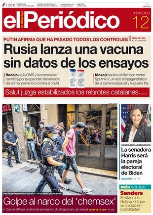 La portada de EL PERIÓDICO del 12 de agosto del 2020