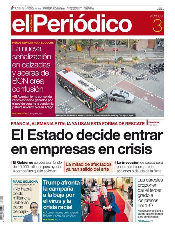 La portada de EL PERIÓDICO del 3 de julio del 2020