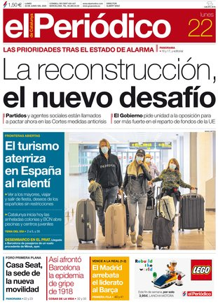 La portada de EL PERIÓDICO del 22 de junio del 2020