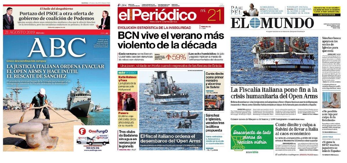 Prensa de hoy: Las portadas de los periódicos del miércoles 21 de agosto del 2019