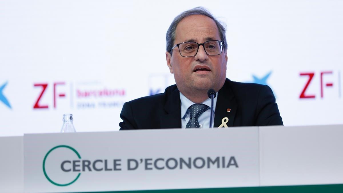 El 'president' de la Generalitat, Quim Torra, en Sitges.