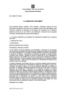 Proposición de ley del PSC sobre Aigües Ter Llobregat