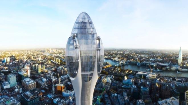 Proyecto del edificio 'Tulipán' para la City de Londres.