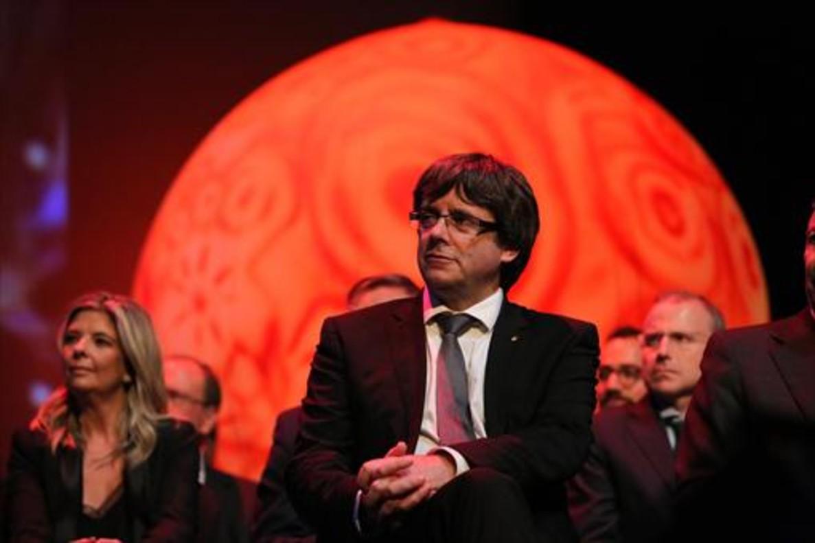 Puigdemont, ayer, en la Nit de lEmpresari que organiza la Cecot.
