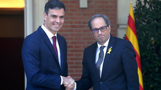 Reunión entre Quim Torra y Pedro Sánchez en la Moncloa.