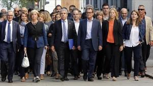 Francesc Homs, acompañado por una nutrida representación política, acude a declarar ante el Supremo, el 19 de septiembre del 2016.