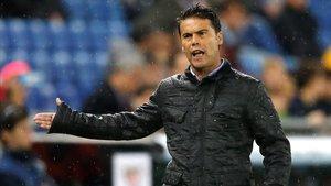 Rubi, el entrenador del Espanyol, celebra el gol del triunfo perico ante el Athletic.