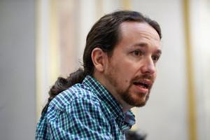GRAF7221. MADRID, 20/09/2018.- El secretario general de Podemos, Pablo Iglesias, durante la rueda de prensa ofrecida al término del pleno celebrado hoy en el Congreso. EFE/Emilio Naranjo