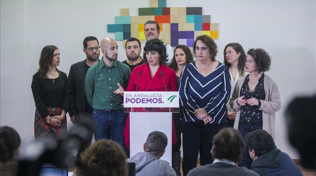 La coordinadora de Podemos Andalucía y portavoz de Adelante Andalucía, Teresa Rodríguez
