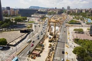 Vista general de las obras de la plaza de las Glòries.