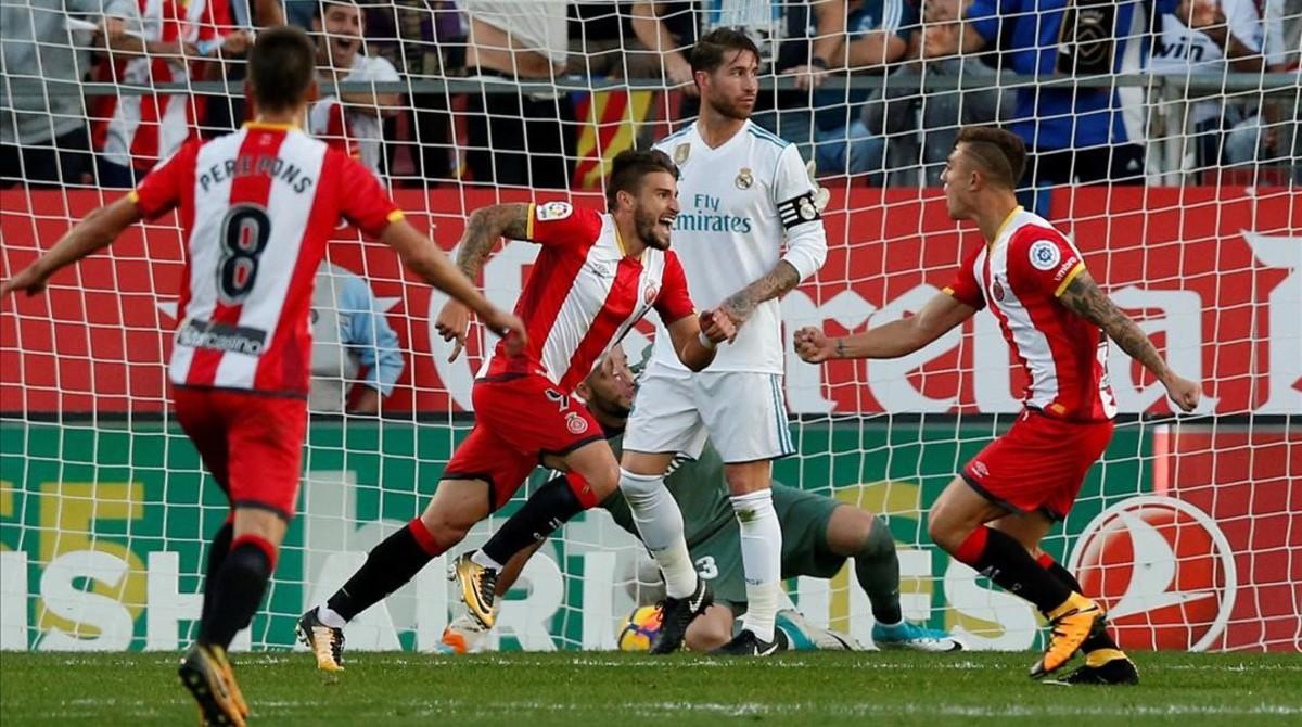 Portu celebra el segundo gol del Girona frente al Real Madrid en el partido disputado en Montilivi el pasado 29 de octubre.