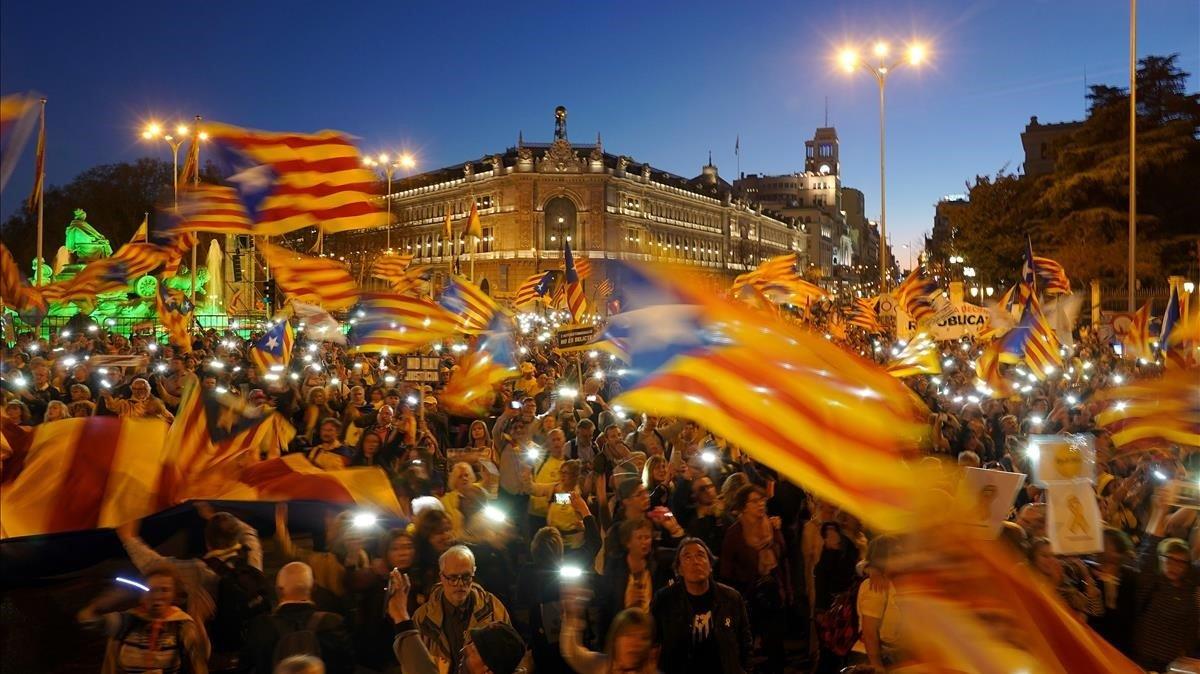 Manifestación a favor del derecho de autodeterminación en Madrid del 16 de marzo de 2019.