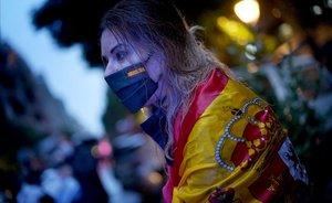Manifestantes en la calle Núñez de Balboa de Madrid.