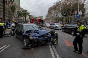 Un accidente en la avenida Diagonal de Barcelona el pasado mes de enero.