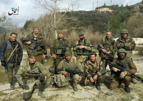 Fotografía de supuestos mercenarios de la empresa Wagner difundida por Amaq, el aparato de propaganda del Estado Islámico.