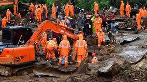 Operación de rescate de la avalancha de lodo en el estado de Kerala