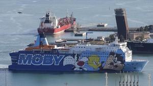 El barco Moby Dada con las imágenes de los personajes de dibujos animados.