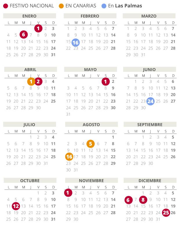 Calendario laboral de Las Palmas del 2021.