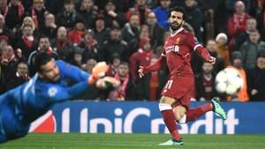 El jugador del Liverpool Mohamed Salah, en el partido de semifinales de la Champions Liverpool-Roma.