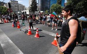 Marchas y protestas cerca de la casa de Sebastián Piñera enSantiago de Chile.