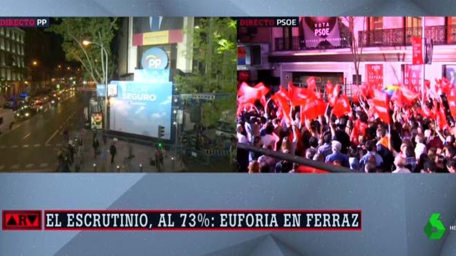 Contraste entre las sedes de PP y PSOE.