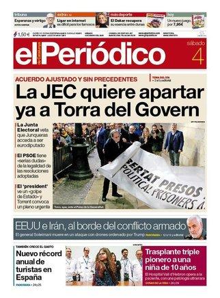 Prensa de hoy: Las portadas de los periódicos del sábado 4 de enero del 2020