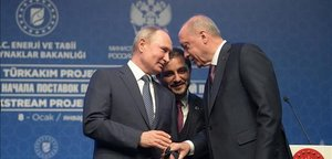 Erdogan junto a Putin, este miércoles en Estambul.