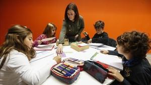 Presentación del innovador sistema para aprender matemáticas, en la Escola Virolai de Barcelona.