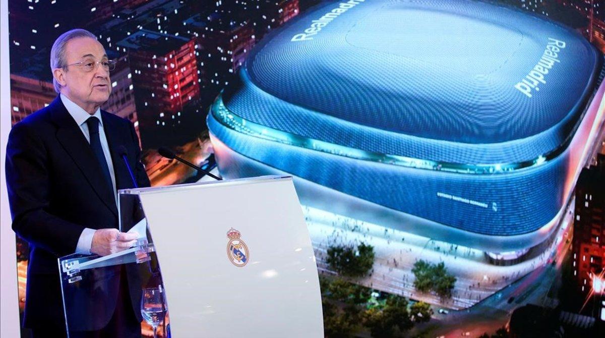 Florentino Pérez, el presidente del Madrid, durante el acto de presentación de la remodelación del Bernabéu.
