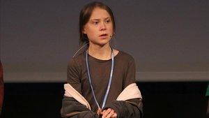 Greta Thunberg, durante la rueda de prensa en Madrid, este viernes.