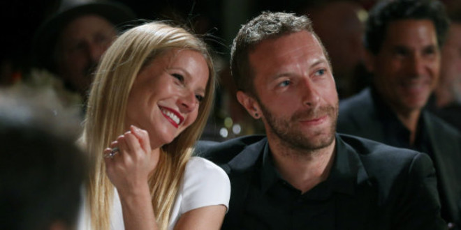 FILE - This Jan. 11, 2014 file photo shows actress Gwyneth Paltrow, left, and her husband, singer Chris Martin at the 3rd Annual Sean Penn & Friends Help Haiti Home Gala in Beverly Hills, Calif. Paltrow and Martin are separating after 11 years of marriage. A message posed on the 41-year-old actress blog Tuesday, March 25, says that the couple has come to the conclusion that while we love each other very much we will remain separate. Paltrow and the 37-year-old musician married in 2003. The couple has two children, 9-year-old daughter Apple and 7-year-old son Moses. (Photo by Colin Young-Wolff /Invision/AP, File)
