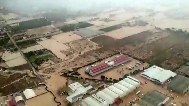 Imágenes aéreas de los campos inundados en Orihuela.