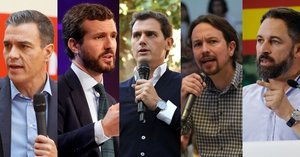 02/11/2019 Imagen de los cinco candidatos nacionales al 10N: Pedro Sánchez (PSOE), Pablo Casado (PP), Albert Rivera (Cs), Pablo Iglesias (Unidas Podemos) y Santiago Abascal (Vox)