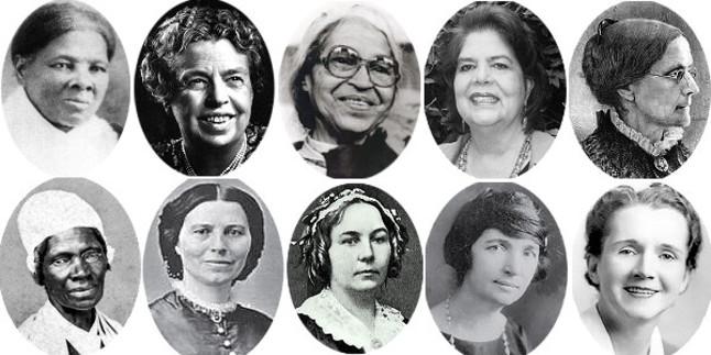 De izquierda a derecha y de arriba abajo: Harriet Tubman, Eleanor Roosevelt, Rosa Parks, Wilma Mankiller, Susan B. Anthony, Sojourner Truth, Clara Barton, Elizabeth Lady Stanton, Margaret Sanger y Rachel Carson.