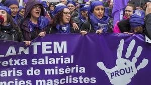 Huelga feminista el 8 de marzo del 2018 en Barcelona.