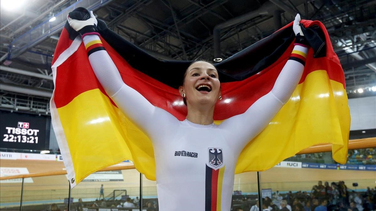Kristina Vogel, tras proclamarse campeona del mundo en el 2017.