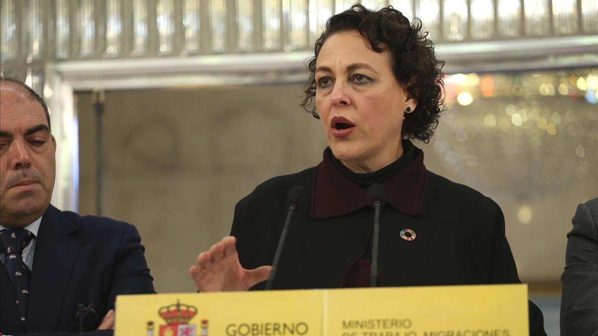 La Ministra de TrabajoMigraciones y Seguridad Social Magdalena Valerio, hoy.