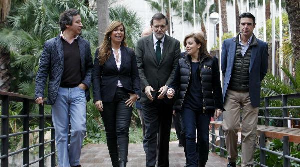 Llegada del presidente del PP, Mariano Rajoy, al Palau de Congressos de Catalunya.