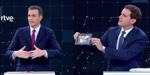 Candidates for Spanish general elections Prime Minister and Socialist Workers Party PSOE Pedro Sanchez and Ciudadanos Albert Rivera attend a televised debate ahead of general elections in Pozuelo de Alarcon outside Madrid Spain April 22 2019 TVE via REUTERS