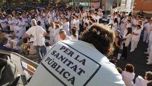 Asambleade médicos en un centro sanitario deBarcelona, en el 2011.