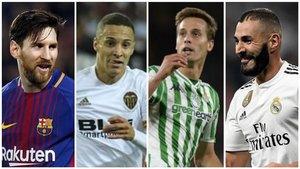 Messi (Barça), Rodrigo (Valencia), Canales (Betis) y Benzema (Real Madrid).