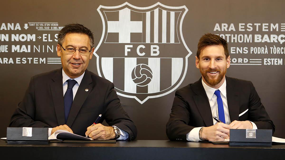 L'argentí Leo Messi ha firmat un nou contracte amb el Barcelona fins al juny del 2021 amb una clàusula de rescissió de 700 milions d'euros, segons ha anunciat el club.